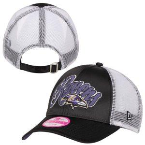 Baltimore Ravens Ladies Scripty Satin 9FORTY Adjustable Trucker Hat