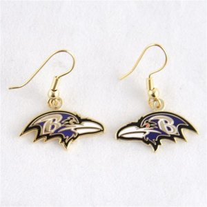 Baltimore Ravens Logo Wire Earrings