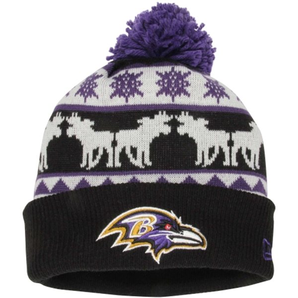 46656dede Baltimore Ravens New Era Mooser Cuffed Knit Beanie Pom