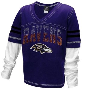 Baltimore Ravens Youth Girls Twofer Sleeve Stripes Baby Jersey