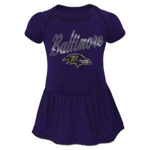 Baltimore Ravens Newborn Girls Dazzle Creeper Attached Skirt