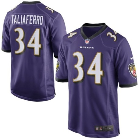 Mens Baltimore Ravens Lorenzo Taliaferro Nike Purple Game Jersey